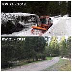 Schnee von gestern: auffräsen Wanderweg Schwimmbad - Zug mit Holder Schneider Erdbau