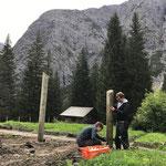 Steher setzen Zaun Pflanzgarten