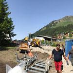 Materialabtransporte Zelt ACCR, Garten Hotel Arlberg