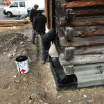 Arbeiten am Stall Schlosskopfparkplatz