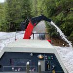 Lechuferweg, Restschnee auffräsen Fischteich - Butzenbrücke