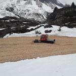 Pistenbully 100 im Einsatz auf der Trittalpe, Schneedepot Weltcuprennen Zürs