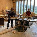 Kanthölzer ablängen für Pfahl-Herstellung