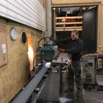 Flachstahl schneiden für Geländerbau Loipe Omesberg