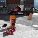 Schrankenanlage abmontieren hinter dem Postamt