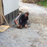 Rohrverlegungsarbeiten beim Technikraum