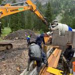Betonierarbeiten bei der Zuger Säge