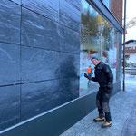 Fassadenreinigung Raiffeisenbank, Baustelle GZL