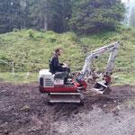 Spullerbachweg neu, Baggerarbeiten zur Renaturierung
