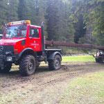 Waldbad Lech - Stahlschienentransport mit U1600 für Behelfsbrücke