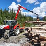 Holzarbeiten mit Steyr 6240 CVT und Epsilonkran