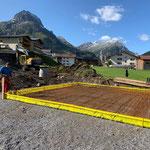 Bodenplatte vorbereiten, Stallversetzung Winterwanderweg-Anger...