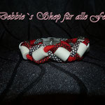 in Paracord geflochten * imperial red / imperial red diamonds / silver diamonds mit Edelstahl Klemmverschluss