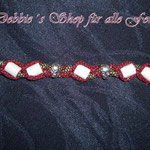 in Paracord geflochten mit Skull Beads * red imperial diamonds/gold diamonds