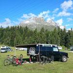 Auf dem Camping in St. Moritz