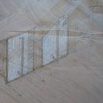 perspektivische Zeichnung auf Skizzenpapier Rollcontainer für Ordner