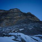 Versuch am Schottenpfeiler in der Eiger N-Wand. Foto: D. Göldi