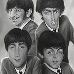 The Beatles, caricature by Nico di Mattia
