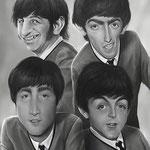 The Beatles, caricature by Nico di Mattia