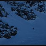 """Alpiniste esseulé partant sur la voie """"Gauche"""" du Taillon"""