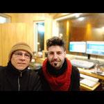 """En estudio Corcovado, con Ariel Migliorelli, grabando """"La enésima lágrima""""."""