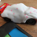 Cupcake McQueen first with white hot glue