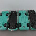 Left to right: Flo V1-V2-V3-V4 Notice difference in bottom colors