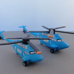 Dinoco Helicopter (L) vs. Dinoco Helicopter DeLuxe (R)