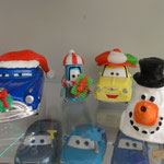 The boys made a snowman to keep them company in the display.