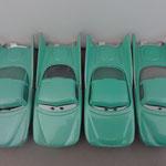 Left to right: Flo V1-V2-V3-V4 Notice different trunk, color rear window, lines on rear window