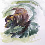 Dog playing in water 05/20 30X30CM