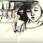 Sketch on paper, 20 x 24 cm, chalk on paper