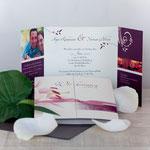 Hochzeitseinladung - Quadratisch Altarfalz mit Banderole in silber/Alternative mit Bändchen