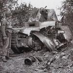 Dieser Marder III Panzerjäger der 352. Inf.Div. erhielt einen Artillerievolltreffer