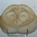 """""""Masque Chouette"""" Bas-relief Sculpture grès blanc cuisson Noborigama H20cm/L28cm Pièce Unique -Juan José Ruiz dit """"Caco"""" Artiste Auteur/Sculpteur- 350€"""