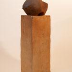 """""""Grand Bison Boule """" Sculpture grès roux sur socle grès noir  cuisson Noborigama H46cm  Pièce Unique -Juan José Ruiz dit """"Caco"""" Artiste Auteur/Sculpteur"""