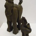 """""""Couple"""" Sculpture African Stone cuisson Noborigama H23cm -Juan José Ruiz dit """"Caco"""" Artiste Auteur/Sculpteur"""