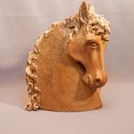 """""""Buste 1"""" Sculpture grès noir cuisson Noborigama H40cm -Juan José Ruiz dit """"Caco"""" Artiste Auteur/Sculpteur"""