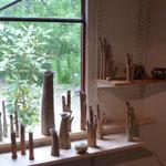 Soliflores ..vases bouquets et Grands vases droits grès cuisson bois et raku - Sylvie Ruiz Foucher -
