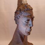 """Caco et le personnage ...""""Samouraï"""" Sculpture terre d'expression haute température cuisson four à bois Noborigama de """"Caco et Sylvie"""" -Juan José Ruiz Artiste/Auteur Sculpteur céramiste dit """"Caco""""-"""