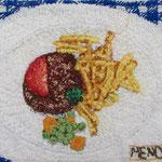 Menü 1 / Stickerei auf Baumwollstoff / ca. 13 x 17 cm 2014 (verkauft)