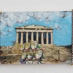 Akropolis / div. Techniken u. Materialien / 11 x 17 cm 2006