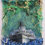 Blüemlisalp im Dschungel / div. Techniken / 21 x 16 cm 2016 (verkauft)