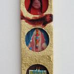Drei dumme Köpfe und ein Fisch / div. Techniken u. Materialien / 7 x 21 cm 2007
