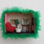 Home sweet home / div. Techniken / ca. 9 x 7 cm 2008 (verkauft)