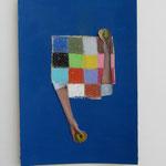 Geben-Nehmen / Acrylfarbe, Kreide, Collage auf Karton / 18 x 26 cm 2011