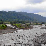 Ein Fluss, der aus dem Nationalpark Braulio Carillo in Richtung Karibik fleißt. Das Wetter ist nicht toll, es ist ja Regenzeit.