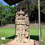 Copan ist berühmt für seine Stelen. Sie sind im wesentlichen ca. 1400 Jahre alt. AN keiner anderen Mayastätte haben wir so prachtvolle Stelen gesehen.