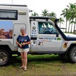 Das ist unsere Italienerin, 71 Jahre und seit 5 jahren alleine unterwegs. 1 2/3 mal um Afrika rum und seit 3 Jahren durch Südamerika.