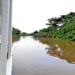 Mit dem Boot über den Rio Frio zu den Seen.